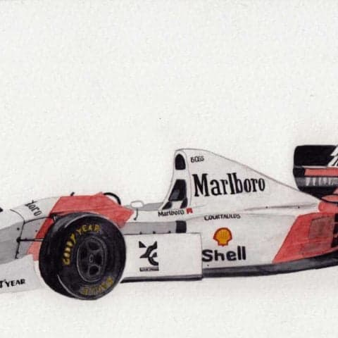 ORIGINAL McLaren MP4/8 (Senna) F1 Watercolour Artwork