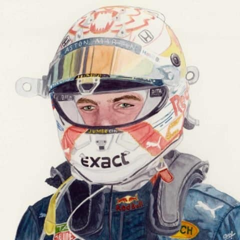 ORIGINAL Max Verstappen Watercolour Painting