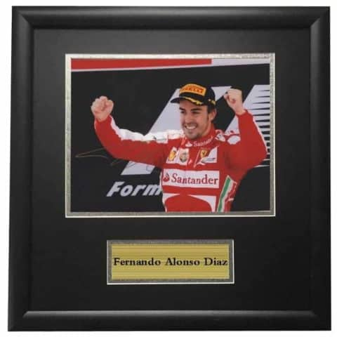 Fernando Alonso Ferrari Winning Framed Autographed Signed Photo