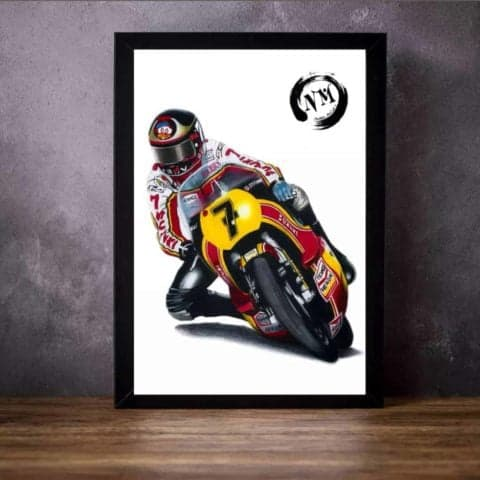 Barry Sheene print poster wall art pencil drawing Motogp