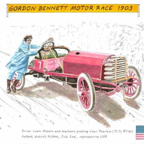 1903 Mooers on Peerless in Gordon Bennett motor race, 1 of 1
