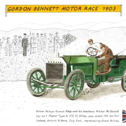1903 Edge on Napier in Gordon Bennett motor race, 1 of 1