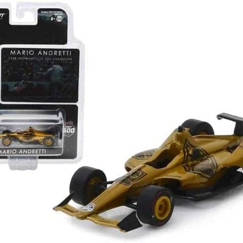"Indy Car Mario Andretti 50th Anniversary 1969 Indianapolis 500 Champion Dallara Universal Aero Kit Tribute IndyCar"" 1/64 Diecast Model Car by Greenlight"""