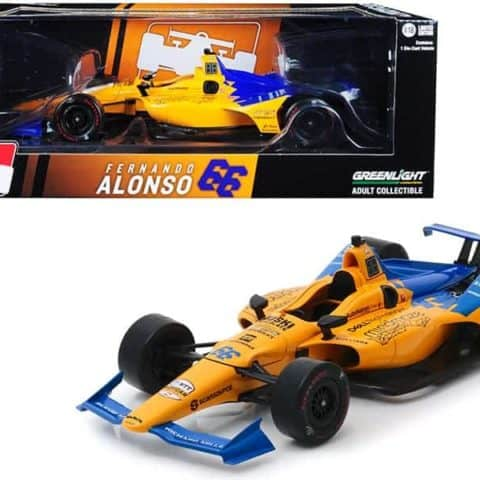 "Dallara Indy Car #66 Fernando Alonso Dell Technologies Mindmaze ""McLaren Racing 1/18 Diecast Model Car by Greenlight"""