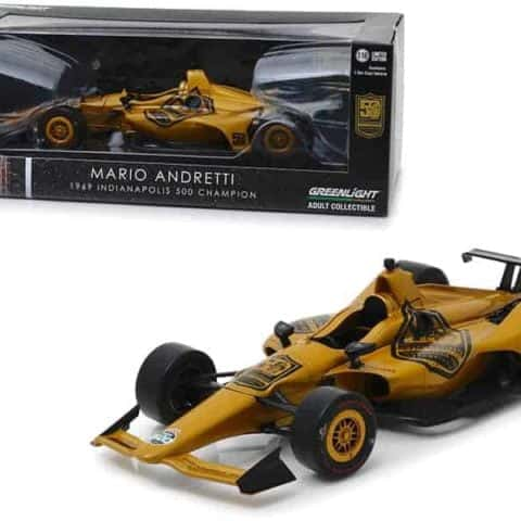"Indy Car Mario Andretti 50th Anniversary 1969 Indianapolis 500 Champion Dallara Universal Aero Kit Tribute IndyCar"" 1/18 Diecast Model Car by Greenlight"""