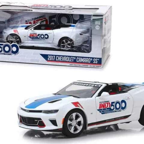"2017 Chevrolet Camaro SS Convertible White 101 Running Indy 500 Presented"" by PennGrade Motor Oil 500 Festival Event Car 1/24 Diecast Model Car by Greenlight"""