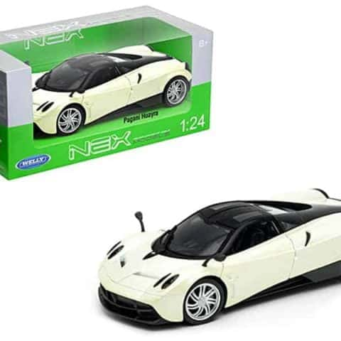 Pagani Huayra Pearl White with Black Top 1/24-1/27 Diecast Model Car by Welly