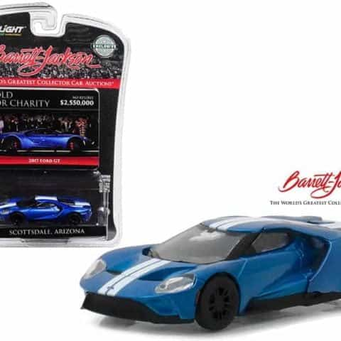 "2017 Ford GT Liquid Blue with White Stripes Barrett-Jackson Scottsdale,  Arizona IGNITE Program Charity Car"" Hobby Exclusive 1/64 Diecast Model Car by Greenlight"""