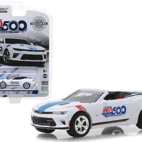 "2017 Chevrolet Camaro SS Convertible White 101 Running Indy 500 Presented"" by PennGrade Motor Oil 500 Festival Event Car ""Hobby Exclusive"" 1/64 Diecast Model Car by Greenlight"""