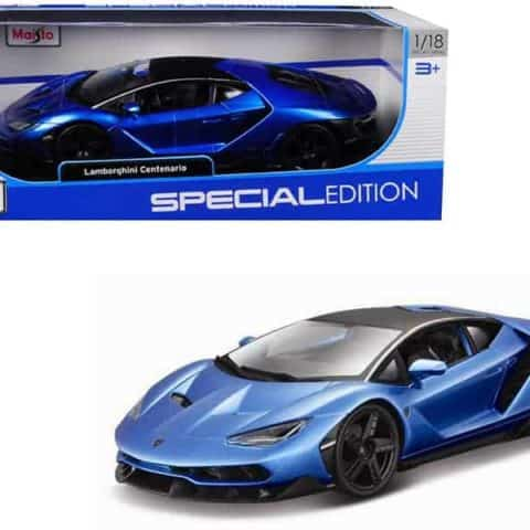 Lamborghini Centenario Metallic Blue with Black Top 1/18 Diecast Model Car by Maisto