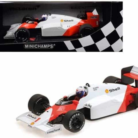 "McLaren TAG MP4/2C #1 Alain Prost Shell ""World Champion (1986) 1/18 Diecast Model Car by Minichamps"""