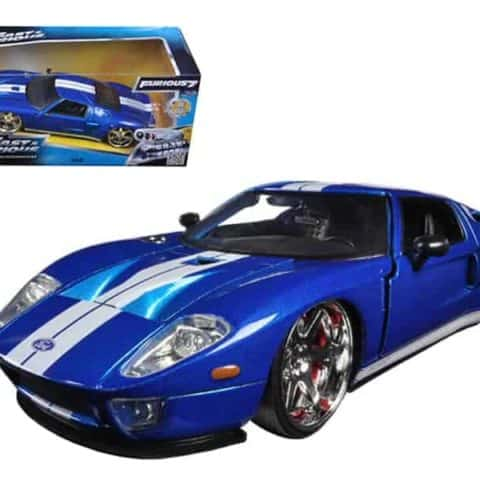 "Ford GT Blue with White Stripes Fast & Furious 7"" (2015) Movie 1/24 Diecast Model Car by Jada"""