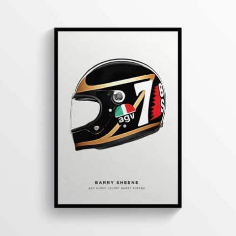 Barry Sheene Helmet British Motorcycle Racer Moto GP Poster Motorbike Road Racer