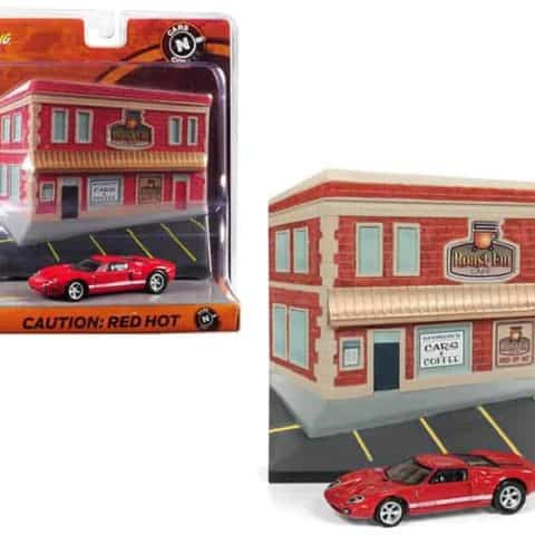 "2005 Ford GT Red with Resin Cafe Front Facade Cars and Coffee"" Diorama 1/64 Diecast Model Car by Johnny Lightning"""