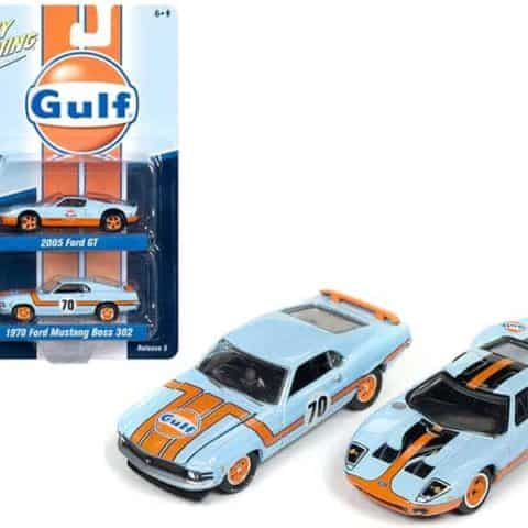 "2005 Ford GT Light Blue Gulf"" and 1970 Ford Mustang Boss 302 ""70"" Light Blue ""Gulf"" 1/64 Diecast Model Cars by Johnny Lightning"""