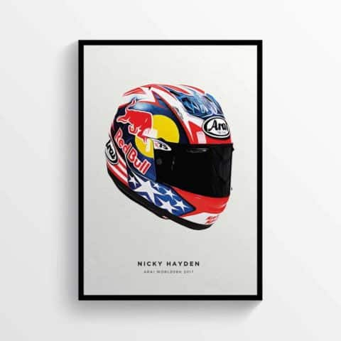 Nicky Hayden 2017 Helmet, Kentucky Kid, 69 Moto GP Honda Motorcycle Poster Print Portrait
