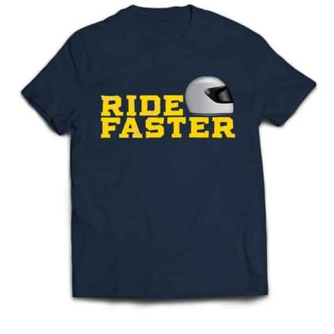 Ride Faster Grey Helmet T-shirt (Blue)