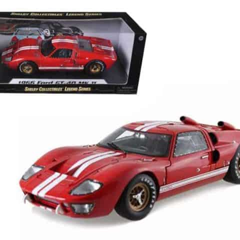 1966 Ford GT40 GT 40 Mark II Red 1/18 Diecast Model Car by Shelby Collectibles