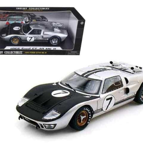 1966 Ford GT-40 MK 2 Silver #7 1/18 Diecast Car Model by Shelby Collectibles