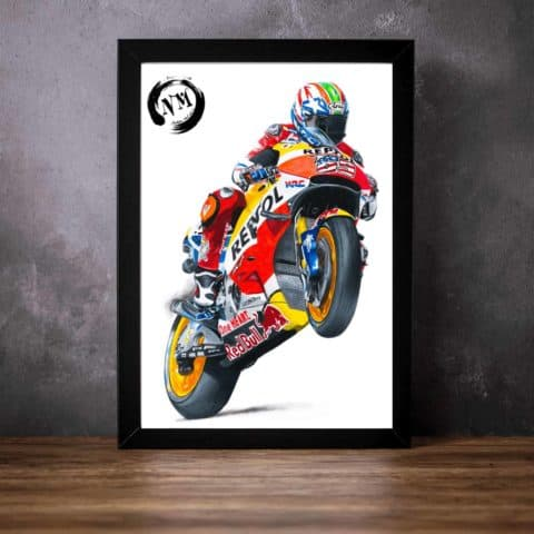 Nicky Hayden print poster wall art pencil drawing