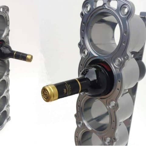 The ultimate wine rack - Made from an Aston Martin Le-mans racecar engine block man cave kitchen accessory