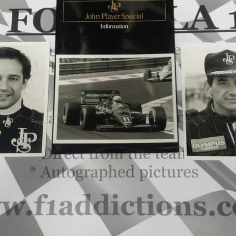 NOW SOLD-Senna and De Angelis personally signed JPS Lotus press pack