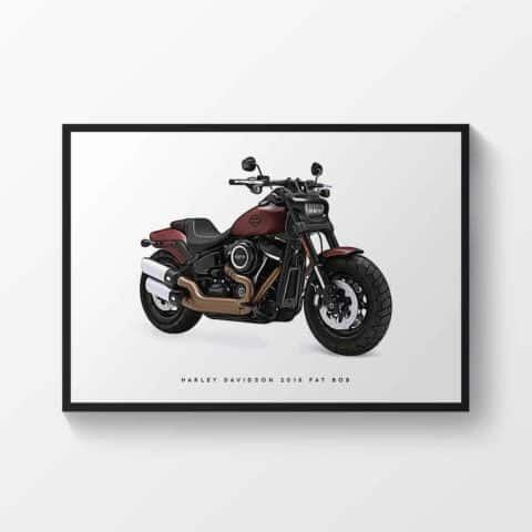 Harley Davidson 2018 Fat Bob Motorcycle Print Sports Bike Motorbike Poster