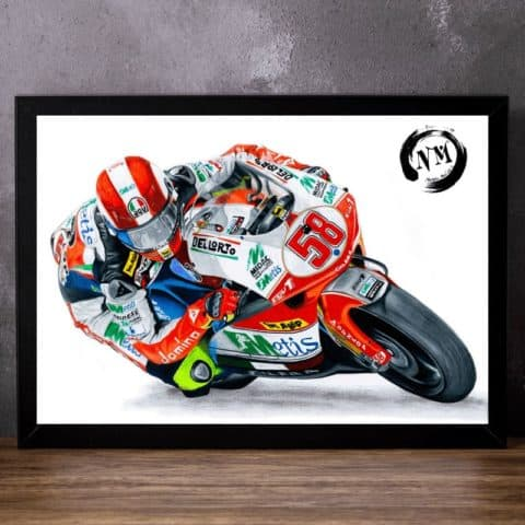 Marco Simoncelli print poster wall art pencil drawing