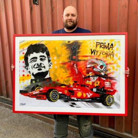 """Prima Vittoria"" Charles Leclerc Graffiti Painting - Framed, one off"
