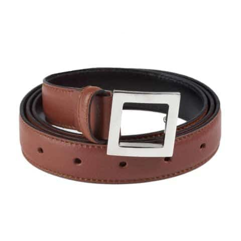 BELT Leather Brown Made in Italy for Lancia Steel Buckle Comes in Gift Box