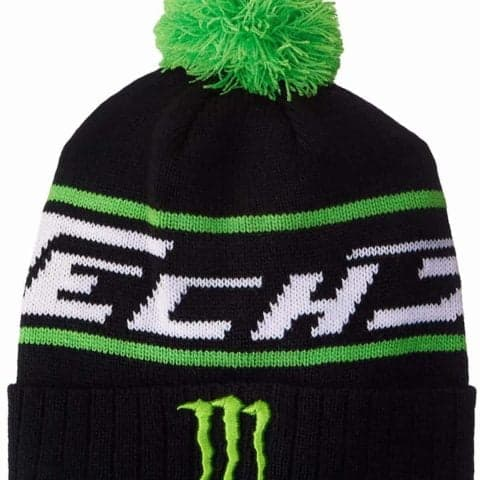 HAT Monster Energy Green PomPom Beanie BSB Bike MotoGP Superbike Tech3 NEW Black
