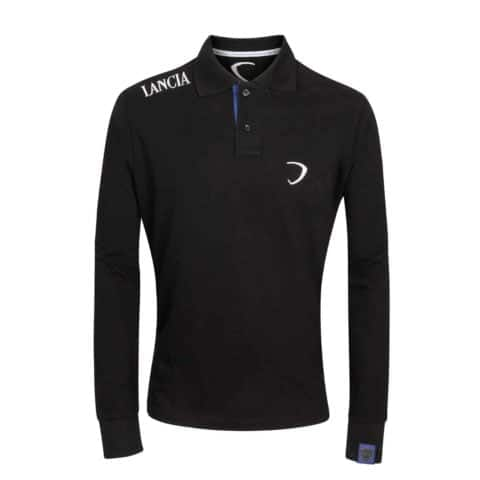 Poloshirt Lancia Delta Mens Longsleeve Polo Rally Embroidered Black
