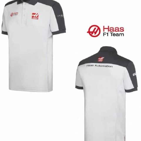 POLO Formula One 1 Mens Haas F1 Team Sponsor PoloShirt White & Grey