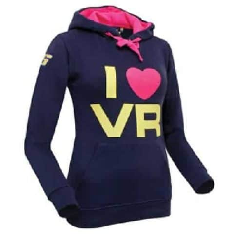 SWEATSHIRT ladies Hoody Bike MotoGP I Love Valentino Rossi Hoodie Navy