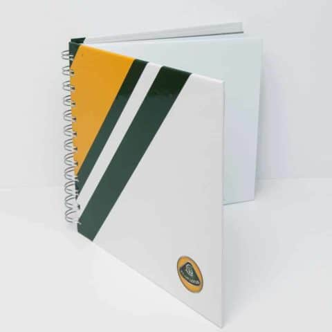 NOTEBOOK White with Green and Yellow Stripe Formula One 1 Team Lotus F1
