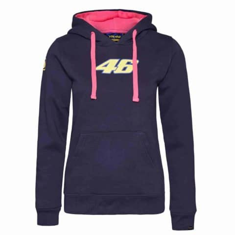 SWEATSHIRT ladies Hoody Bike MotoGP Valentino Rossi Womens NEW Hoodie Navy