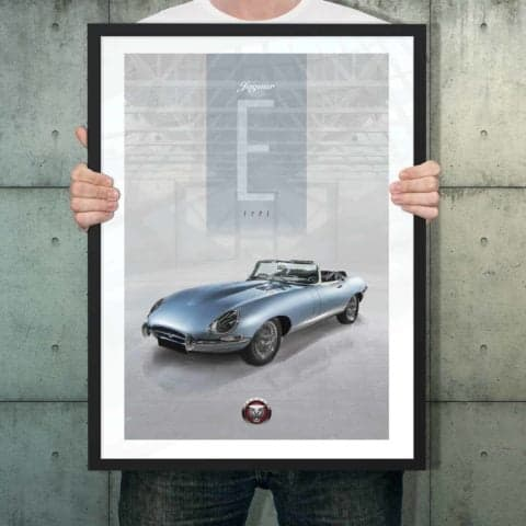 Automotive poster of E Type Jaguar