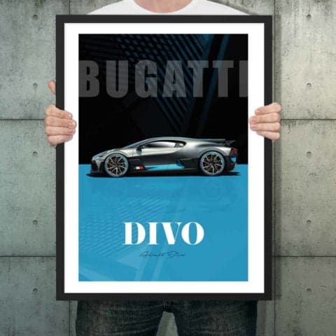 Automotive poster of Bugatti Divo