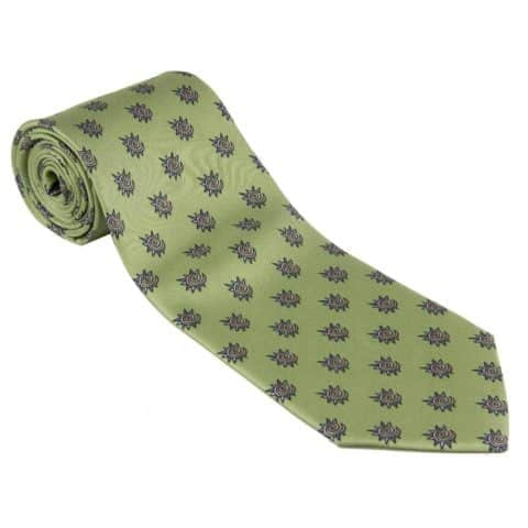 TIE 100% Silk Necktie Fiat WRC Rally Made By Conte of Florence Italy Green