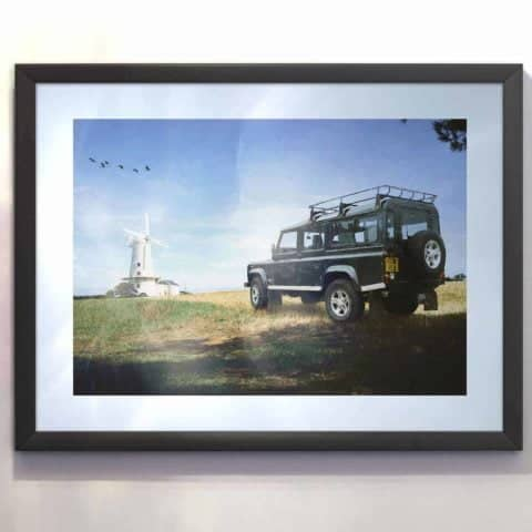 Defender TD5 Framed print of digital art. Designed and created in the UK for car lovers everywhere.