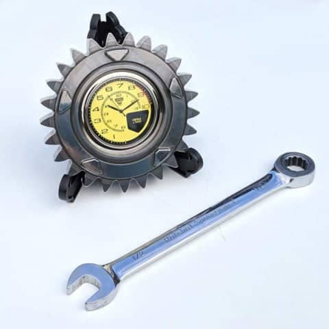 Marussia F1 racecar gear ratio desk or bedside clock - Mans guys Formula 1 racing office table accessory