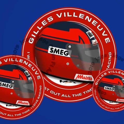 Gilles Villeneuve Flat Out F1 Helmet Sticker - Scuderia GP