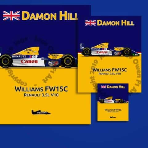Damon Hill Williams FW15C F1 1993 Sticker - Scuderia GP