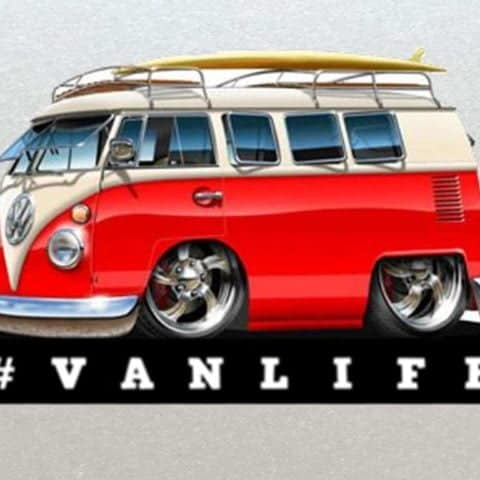 2 x #VANLIFE VW Camper Van Stickers (Laminated) Water Resistant (100mm) - Transporter, T4, T5 Splitscreen etc. (Laminated High Quality)