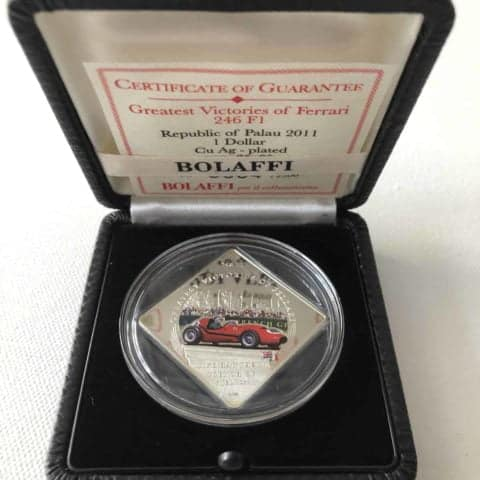 Greatest Victories of Ferrari 246 F1 Mike Hawthorn French GP 1958 Bolaffi Medal / Coin
