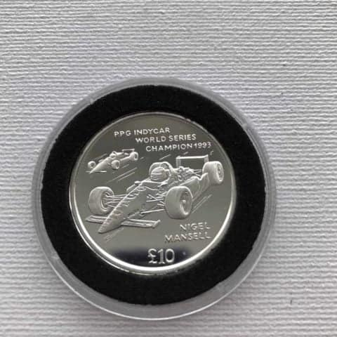RARE 1994 Nigel Mansell Indy Car Champion Commemorative £10 SILVER Coin