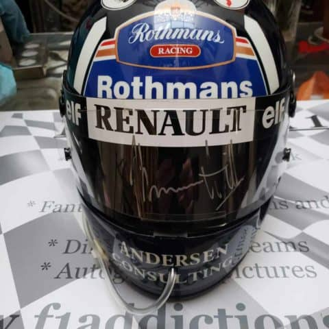 NOW SOLD - Damon Hill race used and signed visor on official snell replica helmet