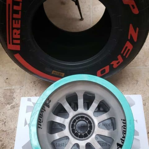 NOW SOLD-Lewis Hamilton 2014 World Championship winning rear wheel with rare red pirelli tyre