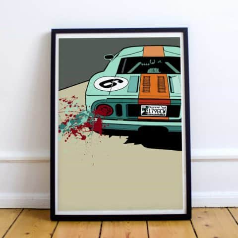 Ford GT40 art. Limited edition print, artwork, poster, GT, Le Mans, 1966, Car, Auto, Racing