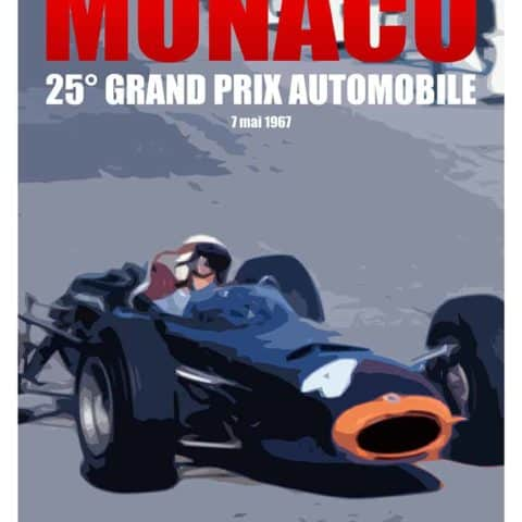 Jackie Stewart 1967 Monaco Grand Prix poster - in support of Race Against Dementia.